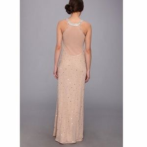 Adrianna Papell Caviar Sheer Back Beaded Gown